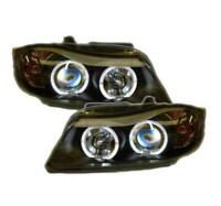 BMW 3 series E90 E91 05-09 Pre-facelift Pre-LCI Black Twin Angel Eye Headlights