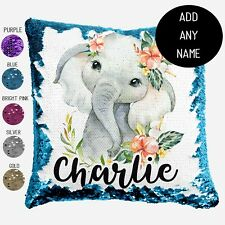 Elephant Sequin Cushion Cover African Animals Personalised Pillow Gift Girl Boy