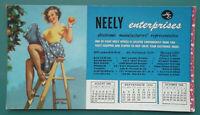 PIN-UP GIRL On Ladder Picks Fruit - SEPTEMBER 1959 INK BLOTTER Neely Electronics