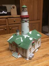 """1992 lemax porcelain lighthouse (""""Christmas village� style) with bulb and wire"""