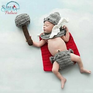 Crochet Newborn Photography Prop Knitted Superhero Thor Photo Shoot Costume Set