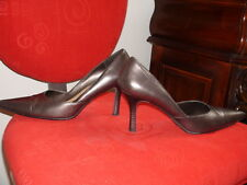 Karen Scott Ladies Shoes Leather size 9,5 M Brown Gold Solid High Heel 4 in Slim