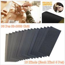 90 Pcs 15 Kinds Wet Dry Sandpaper 80-3000 Grit Assortment Car Body Sheet Sanding