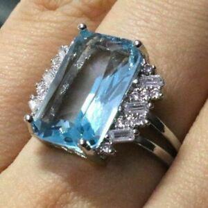 3Ct Radiant Cut Aquamarine Diamond Art Deco Anniversary Ring 14K White Gold Over