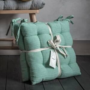 'Boheme' Set of 2 Cotton Rib Dining Seat Cushions - Mint (seat size 45 x 45 cm)