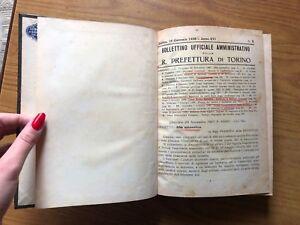 ANTICO LIBRO BOLLETTINO AMMINISTRATIVO R. PREFETTURA  DI TORINO ANNO 1938