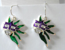 Mardi Gras Fleur De Lis Earrings Silver-tone Dangling Fish-hook