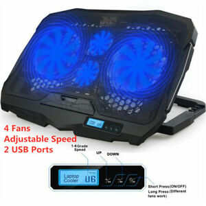 Ultra Slim 2 USB LCD Fans Gaming Cooling Pad Stand For 12-15.6'' Notebook Laptop