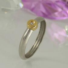 Ring in 950/-Platin + 750/-Gelbgold mit 1 Diamant 0,02 ct Wesselton vsi Gr. 57