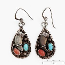 Vintage Native Choctaw Sterling Silver Darrell Brown Turquoise Coral Earrings!