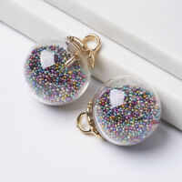 CCB Golden Findings Mini Glass Beads Clear Glass Ball Pendants Charms 23.5x18mm
