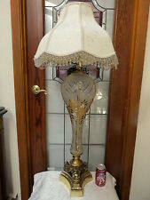 """41.5""""Tall Vintage Retro Lamp Frosted Cut Glass Gold Plate 3D Leaves Uniq Shape!"""