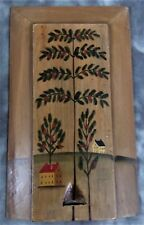 COUNTRY PRIMITIVE WOODEN BOX WITH HOUSE, TREES AND SLIDING LID
