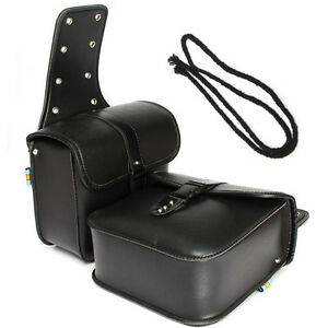 2PCS Motorcycle PU Leather Saddle Bags Storage Tool Pouch Waterproof Solid