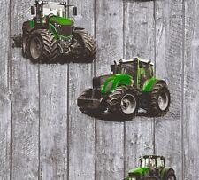 Kindertapete Traktor Holz-Optik grau grün Little Stars 35840-2 (2,69€/1qm)