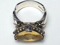 Chateau D`Argent Kanada - 925 Silber Ring großer Citrin & Weißtopase RG 57 /A241