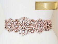 "Wedding Belt, Bridal Sash Belt - 17"" ROSE GOLD Crystal Pearl = IVORY SATIN SASH"