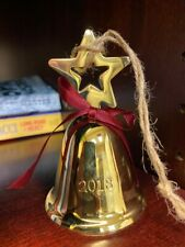 NEW Pottery Barn Dated 2018 Star Bell Ornament Gold Red Bow Christmas Tree NIB