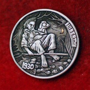 Hobo nickel #21-075/K24 Gold inlay/ 1930 buffalo nickel/ David HJ. He