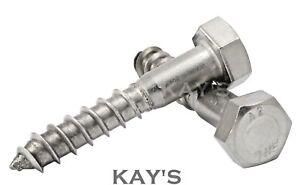 M8 8mm COACH SCREWS HEXAGON HEAD WOOD SCREWS HEX LAG BOLTS A2 STAINLESS STEEL