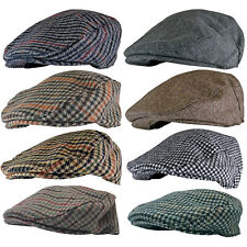 Mens English Vintage Winter Wool Blend Plaid Ivy Newsboy Bill Flat Cap Hat