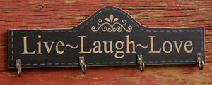 Country Farmhouse Rustic Wooden Live Laugh Love Black Key Hanger Painted