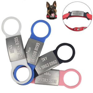 Personalized Dog Id Tag Stainless Steel Silicon Slide on Engraved Pet tag S-L
