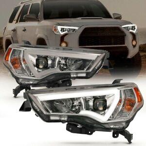 Anzo 111417 Chrome Headlights w/ LED Plank Bar for 2014-2020 Toyota 4Runner
