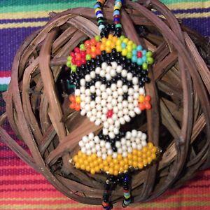 Frida Kahlo Bracelet Glass Seed Bead Peach Dress