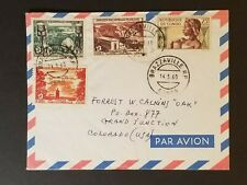 1960 Brazzaville Congo Grand Junction Colorado USA Mixed Franking Air Mail Cover