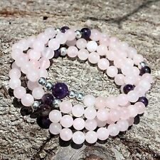 Heart Chakra Mala - Rose Quartz with Amethyst Accents - Traditional 108 Count