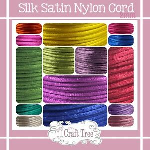 Satin Nylon Cord Rattail 2mm-Various colours & length kumihimo shamballa macrame