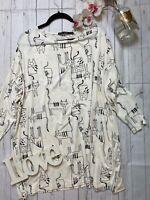 Gudrun jorden XL 18 20 white cat print stretchy tunic casual top long sleeve VGC