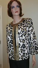 Birch Hill amazing Leopard Print Sequin Bling Jacket Large New w/Tags Stunning!!