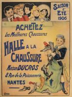 Affiche Originale - Paolo - La Halle à la Chaussure - Nantes - Belle Epoque-1906