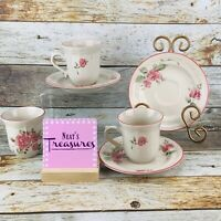 Gibson Designs ROSELAND  856183 Pink Floral Stoneware Flat Cups Saucers Set of 3