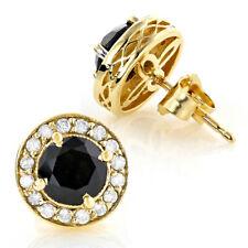 1ct Round Enhance Black & Sim Diamond Men's Stud Earrings 14k Yellow Gold Plated