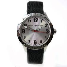 Christian Audigier Reloj plata caucho MODERNO RELOJ DE HOMBRE EXPOSICIÓN