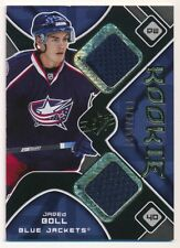 JARED BOLL 2007/08 SPX RC ROOKIE DUAL BLUE JACKETS RELIC JERSEY SP 1373/1599  C1