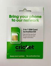 New Cricket Wireless Prepaid Service Tri-Cut Sim Card Kit Limited Time Offer