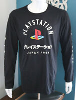 Playstation Japan 1994 Logo Front Men's Black Graphic T-Shirt Long Sleeves