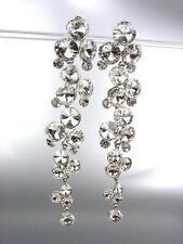 STUNNING Clear Czech Crystals WATERFALL Drippy Long Dangle Earrings