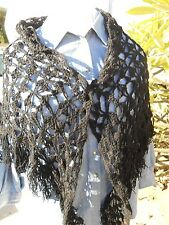Vintage jet black Crocheted Wrap Around Shawl, with unique fold down collar.
