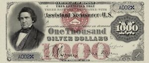 United States, Silver Certificates $10 - $1000, 1878, Complete Set REPRODUCTION