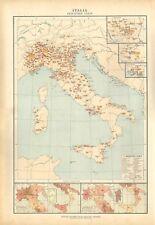 Carta geografica antica ITALIA VARIE INDUSTRIE De Agostini 1927 Antique map