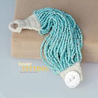 Bracelet Large Argenté Multi Rang Fin Chaine Perle Turquoise Corton Retro CT7