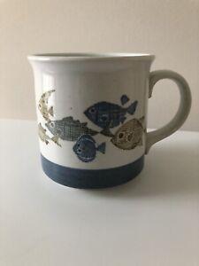Otagiri Blue School of Fish Stoneware Mug Original Sticker Japan Hand Crafted