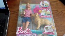 Barbie Newborn Pups Doll and Pets Playset with Puppy Dogs, Blonde