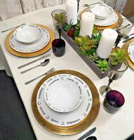 Set Of 2 Round Gold Charger Plates Centrepiece Tableware Under Place Settings