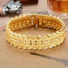New&Cool Men Women 24K Gold Plated Jewelry Rhombus Design Chain Bangle Bracelet